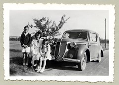 """Wanderer W 24 Delivery Van (Vintage Cars & People) Tags: vintage classic black white """"blackwhite"""" sw photo foto photography automobile car cars motor wanderer wandererw24 1940s forties autounion trip roadtrip countryroad family mother daughter son childhood boyhood girlhood coat dress shorts ribbon pigtails braidedpigtails braid braids"""