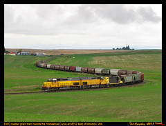 EWG Zig-Zag (funnelfan) Tags: train railroad railway shortline locomotive pnw pacificnorthwest eastern washington gateway ewg cw centralwashington wheat grain sd40t2 gp7 curve