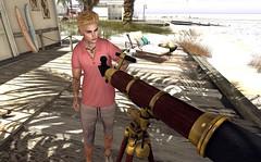 Watching You (Sadwolf SL Photos) Tags: kalback amias etham beach telescope avatar mesh secondlife polo shorts necklace menjail mancave bajashore shirt watching follow