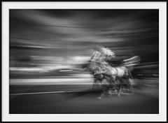 horsing around (Andrew C Wallace) Tags: ir infrared thephotontrap flindersstreet melbourne victoria australia horses blur longexposure motionblur panning nd400 olympusomdem5 microfourthirds m43