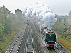 Scotch Mist (Deepgreen2009) Tags: duchessofsutherland lms stanier pacific 6233 fog mist royalscot wires preston lancashire maroon railway train steam uksteam