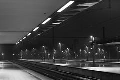 platform, Bruges, Belgium (Plan R) Tags: platform station bruges blackandwhite night evening lamp leica m 240 noctilux 50mm