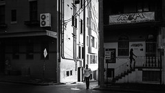 urban sunset (andrewlance photography) Tags: leicaimages 28mm asph australia elmaritm kingscross lr5 leica leicammonochrom lightroom5 mm man silverefexpro sydney alley bw blackandwhite blackwhite buildings f28 monocrome myflickr portrait shade shadows steetphoto street streetphotography sun sunlight sunset walk