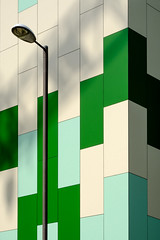 Lego meets tetris (The Green Album) Tags: portsmouth urban city modern contemporary architecture bricks building structure lego tetris multicoloured green street lamp fujifilm xt2
