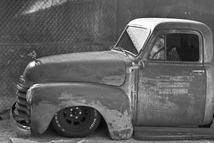 Chevy Truck (magnetic_red) Tags: car truck chevy chevrolet old rusted lowrider grill hood frontquarter crowngraphic mediumformat graflex23rollfilmadapter tmax400 rodinal