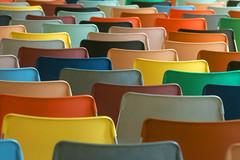 Back of colored chairs (Jan van der Wolf) Tags: map18417v colors colours kleuren chairs stoelen back rug kunsthal rotterdam herhaling repetition rhythm visualrhythm dof depthoffield