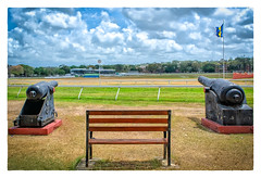 A Well Protected Bench (Timothy Valentine) Tags: 2018 0418 cannon flag garrisonhistoricdistrict barbados racetrack vacation datesyearss bench bridgetown saintmichael bb