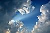 Raydience (NaturalLight) Tags: crepuscular rays cumulus clouds blue sky chisholmcreekpark wichita kansas