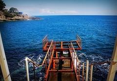Soon will look different (SnežanaQ) Tags: fence rust metal construction pier sea wave water cliff tree cloud sky horizon landscape seascape outdoor adriaticsea ulcinj montenegro southeasterneurope
