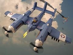 P-98 Nemesis (JonHall18) Tags: lego skyfi dieselpunk fighter plane sand blue nemesis warplane ww2 moc world war two aircraft fantasy pilot