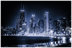 Glowing Chicago (Bobby Palosaari-off for now) Tags: chicago blue buildings city cityscape glow lakeshore lights night skyscraper timelapse