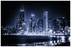 Glowing Chicago (Bobby Palosaari) Tags: chicago blue buildings city cityscape glow lakeshore lights night skyscraper timelapse