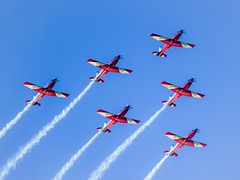 The Show in the Sky - 1 - The RAAF Roulettes - Parkes ACT - Australia - 20180317 @ 17:16 (MomentsForZen) Tags: aircraft goldenhour red blue fireworks fa18 raaf roulettes skyfire sky color x1d hasselblad mfz momentsforzen barton australiancapitalterritory australia au