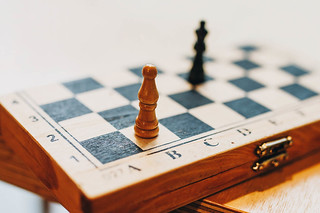 Close up of chess board and pieces
