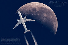 Cathay Pacific Airbus A350-941 with contrails, crosses the Waning Crescent Moon (44.5%) over Brisbane Australia. (ePixel Images) Tags: cathaypacific blrx airbus airbusa350941 airbusa350 brisbane australia contrails condensation auckland newzealand hongkong specialadministrativeregiono moon aircraft flight cx113 transport travel specialadministrativeregionofthepeoplesrepublicofchinawaningcrescentmoon