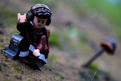 Reporting to Fifth Sector (RagingPhotography) Tags: lego star wars rebel rebellion alliance resistance trooper troop soldier plastic toy toys minifigure minifig figure casualty death dead crouch crouched crouching binoculars headset down outside outdoors outdoor buried ragingphotography
