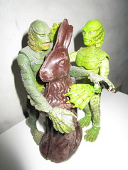 Easter Creature and Chocolate Rabbit 9069 (Brechtbug) Tags: easter creature chocolate bunny rabbit 2018 universal pictures studio black lagoon monsters new york city undead zombie cadaver horror terror halloween fright toy toys moody shadow shadows face portrait 1954 movie film hollywood fish man gill gillman collectable collectible type lite light holiday gloomy goth gothic action figure chocolates eeeaster april fools green 04012018