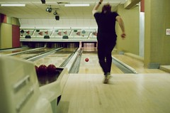 Bowling (BlueShift 12) Tags: bowling motionblur people friend film ae1program kodak