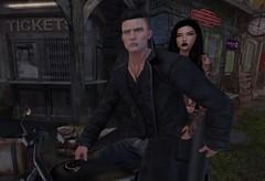 Time to escape.. (Hanzworld) Tags: pose bike leather black tan piercings tattoos green eyes hazel hair sl netherwood friends