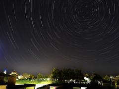 Stars (asamoal2) Tags: night sky star trails starry city nature longexposure omd em10mark2 1240pro olympus1240pro startrails ngc trees tree green black church nightphotography cityscape astrometrydotnet:id=nova2510139 astrometrydotnet:status=failed