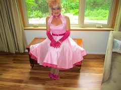 Pink Doll . Very frilly girly dress-up . (Priscilla St. John) Tags: transvestite feminine doll gurl pink satin fiftiesfashion sexy gloves blonde petticoat