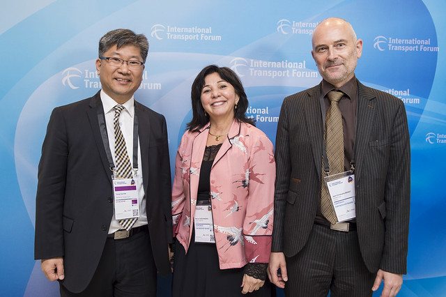 Young Tae Kim and CPB members: Marcia Cozzi Ribeiro and Jean-Christophe Beziat posing for a picture
