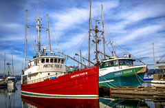 Fishboats (Paul Rioux) Tags: cowichan bay fish boat boats vessel vessels commercial industry bc clouds calm water two pair prioux trawler fishing red green arcticfoxii doubledecker