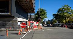 Road Closed (Jocey K) Tags: newzealand nikond750 christchurch building achitecture christchurchrebuild construction roadcones sky street road shadows cars trees hoarding buildingsitehoarding