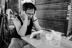 Boredom (gergelytakacs) Tags: asia china chinese eastasia fareast hk hongkong hongkonger pearlriverestuary sar alone bw blackandwhite bored boredom bracelet bystander calle candid city computer desk dinner dishes documentary empty evening flâneur harbor lonely man meal monochrome night people photo photography plate port portrait public rue shop shutter space strada stranger strasenfotografie street streetphotographer streetphotography streetphotgrapher streetphotgraphy streetphoto streets streetscape supper tablet ulica unposed urban urbanphoto urbanphotographer urbanphotography utcafotó wrinkles улица רחוב 香港