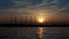 Sunset Boats (rvroel) Tags: netherlands zuidholland sunset landscape water boats sailboats