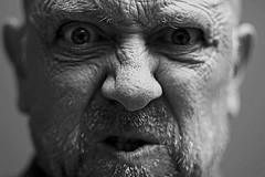 Go Away! (Wilamoyo) Tags: me selfie self portrait angry annoyed old wrinkles character face bw blackand white mono monochrome
