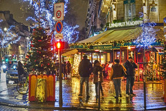 Paris nights-2 (albyn.davis) Tags: paris france europe travel night light wet rain lights holidays christmas people street colors bright vivid vibrant yellow blue trees decorations nightlife restaurant cafe reflections