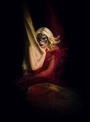 The Temptress (PAULMKING) Tags: temptress eyeswideshut erotic seductive art ribbons sheer blonde red dark