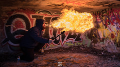 Fire Breathing (Jason Giroux) Tags: smoke fire breathing grenaed blue graffiti paraphin latern oil cool light
