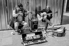 Street music (Miguel Angel Prieto Ciudad) Tags: musician concert instrument music guitar live street art city show madrid spain black white blancoynegro monochrome hallelujah leonardcohen violin sony sonyalpha mirrorless