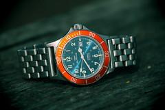 Glycine, Sub. 8 (EOS) (Mega-Magpie) Tags: canon eos 60d outdoors glycine combat sub swiss made timepiece wristwatch watch time dive diver blue sunburst orange automatic wood