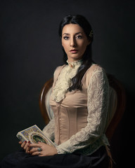 Days of future passed (Giulia Valente) Tags: portrait portraiture woman beauty beautiful alone cinematic cinema movie story romance romantic one looking light shadow dark beam darkness mood moody atmosphere low key dream inspiring paint painterly book painting victorian