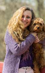 Such a Pretty Pair (tquist24) Tags: cavapoo hww indiana nikon nikond5300 sicily wanda cute dog friends geotagged girl hair lady portrait pretty smile woman person pet outdoor sweater bokeh