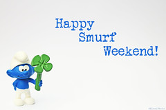 Happy Weekend :-) (eleni m, longing for spring...) Tags: smurf blue happyweekend negativespace clover luck lucky goodluck white whitebackground green