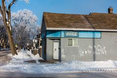 Coca Cola Blue (bryanscott) Tags: architecture building hoarfrost manitoba northend snow winnipeg winter canada ca
