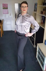 Back to business (Rikky_Satin) Tags: silk satin blouse top pants crossdresser transvestite office business fashion apparel