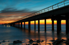 Early morning at Lorne Pier (Pat Charles) Tags: lorne bellarine peninsula pier jetty beach ocean water sea reflection reflected reflections longexposure tripod melbourne victoria australia travel tourism dawn sunrise sunset morning early outdoor outdoors outside fishing sky clouds