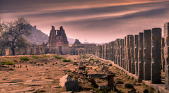 Vittala Temple, Hampi (1.5+ mil views. Humbled and thanks to all!) Tags: hampi vittala temple complex dramatic sky evening pillars stone architecture heritage