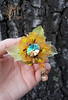 Yellow flower (~Gilven~) Tags: foggyforest flowers luciteflowers jewelry neckjewellry jewellry broch broche bead beads beading beadembroidery pendant naturalleather