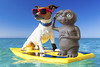best friends [composite] (laurensegura) Tags: board animal beach california coast dog flower fun funny glasses hawaii hawaiian hawaiianlei holiday humor isolated jackrussell joke lei ocean pet power puppy retro sand sea seventies shades sixties sport summer summertime sunglasses surf surfboard surfer surfing terrier tourist travel trip tropical vacation vintage water wave white