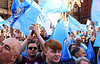 Manchester City Fans (Wilamoyo) Tags: manchestercityparade2018 manchestercity fans football soccer flags success winnners tropy parade street people men crowd group