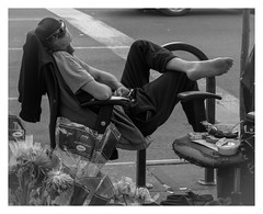 Resting (mikeangol) Tags: monochrome blackandwhite new york city street photography people candid