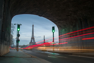 Traffic jam near the Eiffel Tower