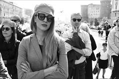 (All Eyes On Me) (Robbie McIntosh) Tags: leicam9p leica m9p rangefinder streetphotography 35mm leicam summicron leicasummicron35mmf20iv blackandwhite bw biancoenero bn monochrome summicron35mmf20iv autaut eyecontact woman rayban demonstration nodebito napoli naples girl digital protest