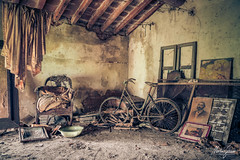 Get on your bike and ride! (MGness / urbexery.com) Tags: lost place places urbex urban exploration urbanexploration abandoned decayed floor corridor ruine ruins forgotten me dream abandones rusty steps urbexery chateau castle kastel palace creepy explorer rust orange window golden light bike bicycle ride windows broken dreams villa
